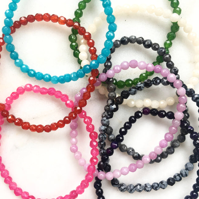 FACETED AGATE STONE BRACELETS | 4MM | SOLID COLOR OPTIONS