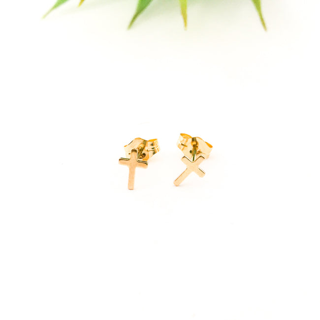 MINI CROSS STUD EARRINGS | 14K GOLD-FILLED