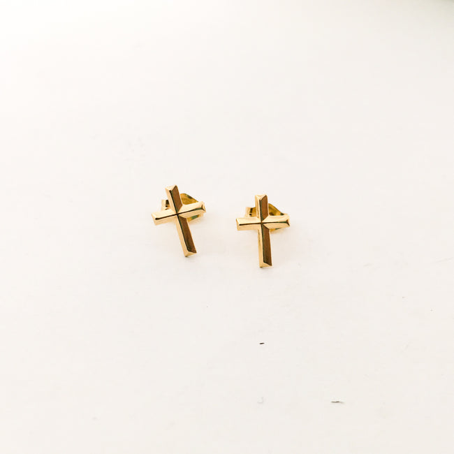 CROSS STUD EARRINGS | 14K GOLD-FILLED