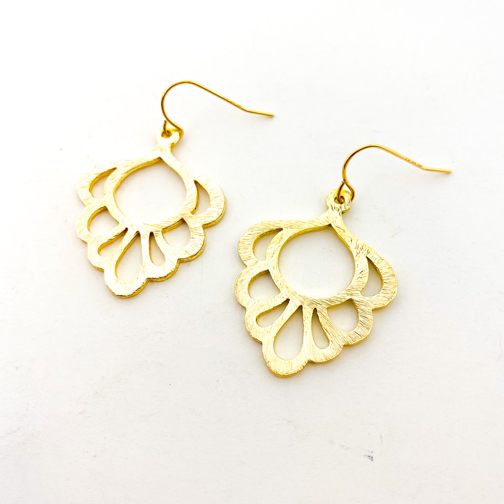 BRUSHED LACE DROP EARRINGS | 14K GOLD-FILLED