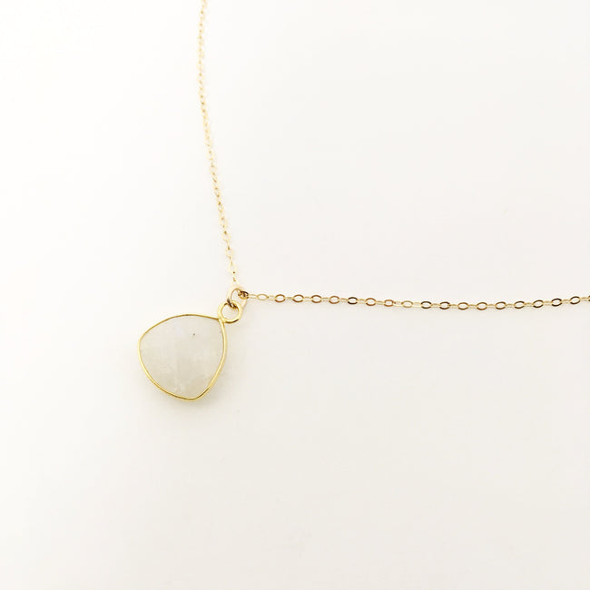 14K GOLD-FILLED TRIANGLE MOONSTONE NECKLACE