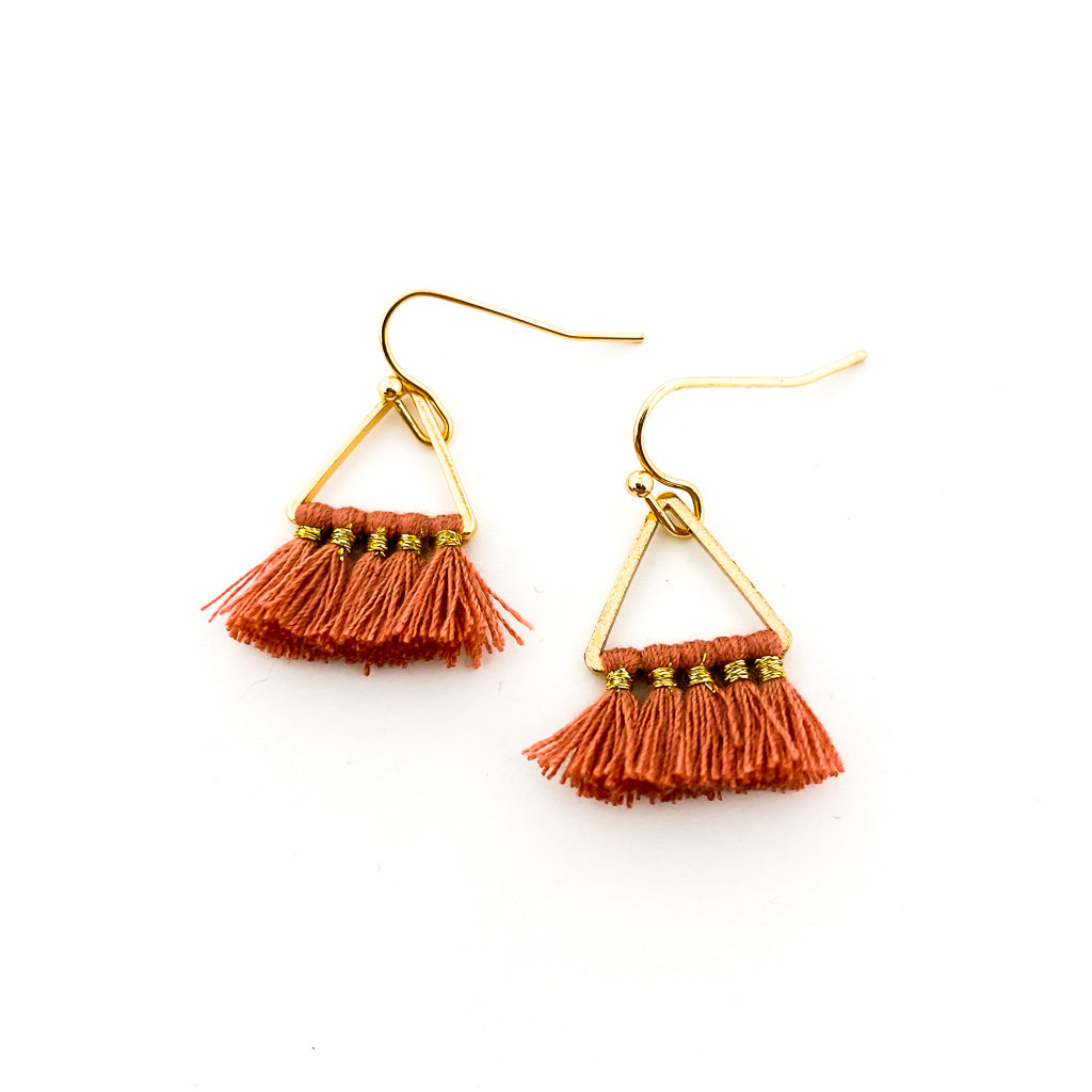 MINI TRIANGLE TASSEL EARRINGS | STYLE OPTIONS