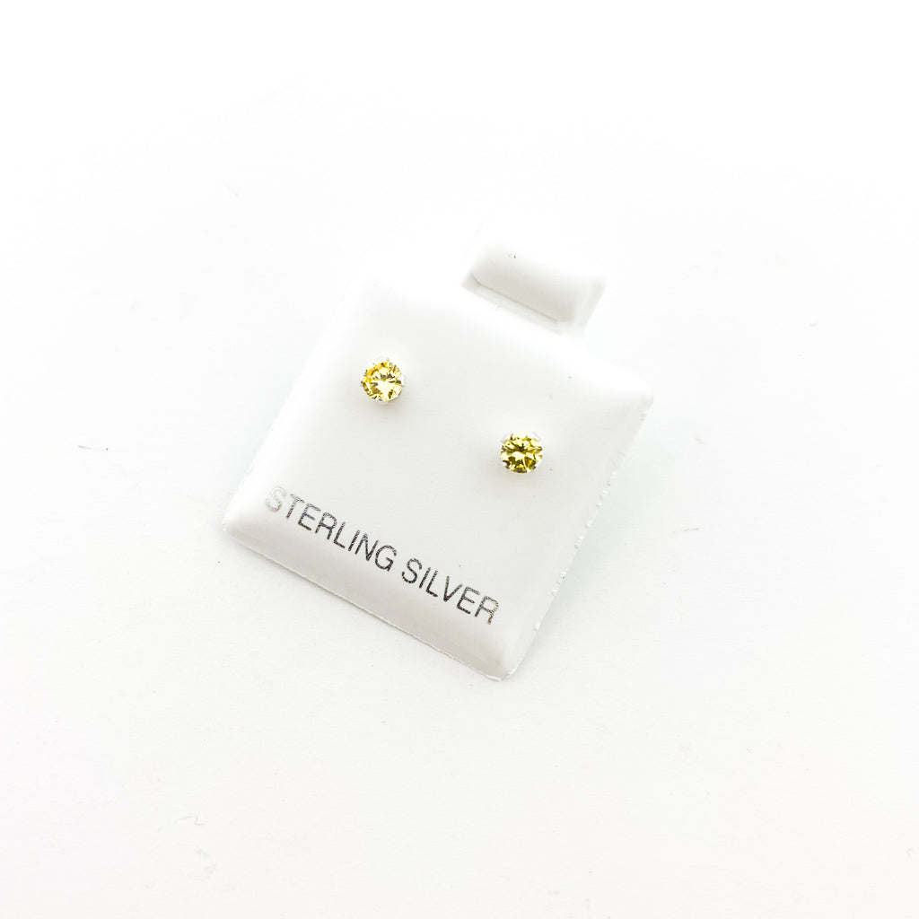 BIRTHSTONE STERLING SILVER CRYSTAL STUDS | NOVEMBER CITRINE | SIZE OPTIONS