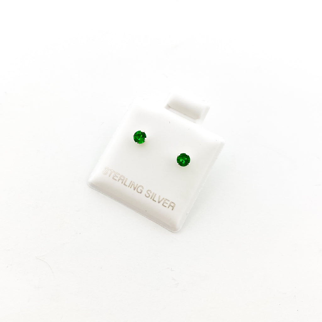 BIRTHSTONE STERLING SILVER CRYSTAL STUDS | MAY EMERALD | SIZE OPTIONS