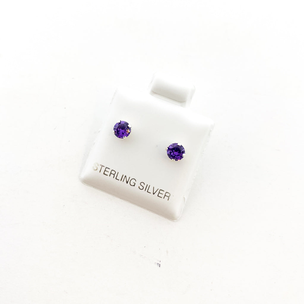BIRTHSTONE STERLING SILVER CRYSTAL STUDS | FEBRUARY AMETHYST | SIZE OPTIONS