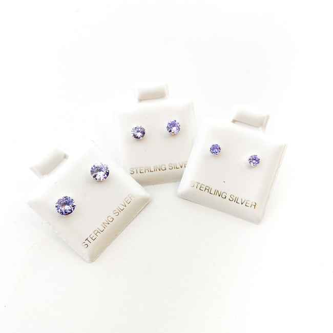 BIRTHSTONE STERLING SILVER CRYSTAL STUDS | JUNE ALEXANDRITE | SIZE OPTIONS