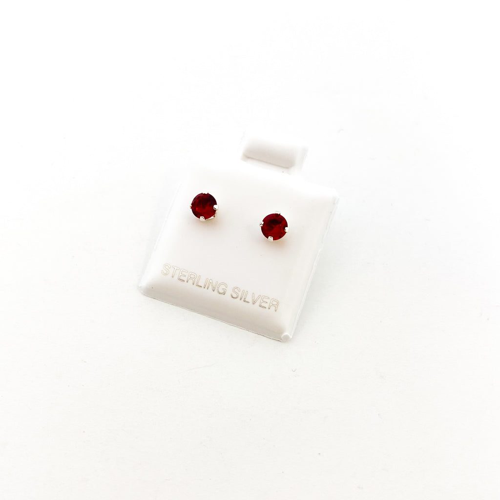 BIRTHSTONE STERLING SILVER CRYSTAL STUDS | JULY RUBY | SIZE OPTIONS