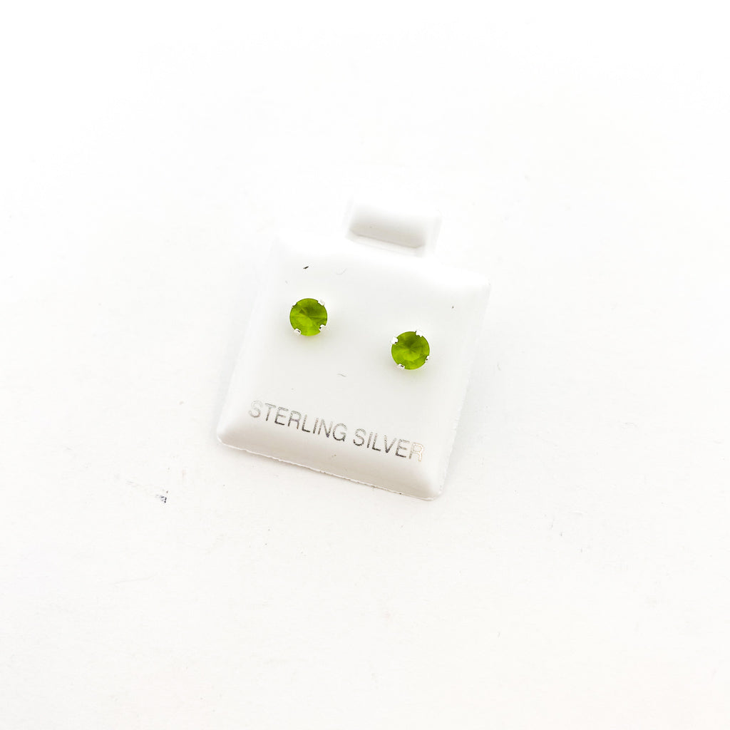 BIRTHSTONE STERLING SILVER CRYSTAL STUDS | AUGUST PERIDOT | SIZE OPTIONS