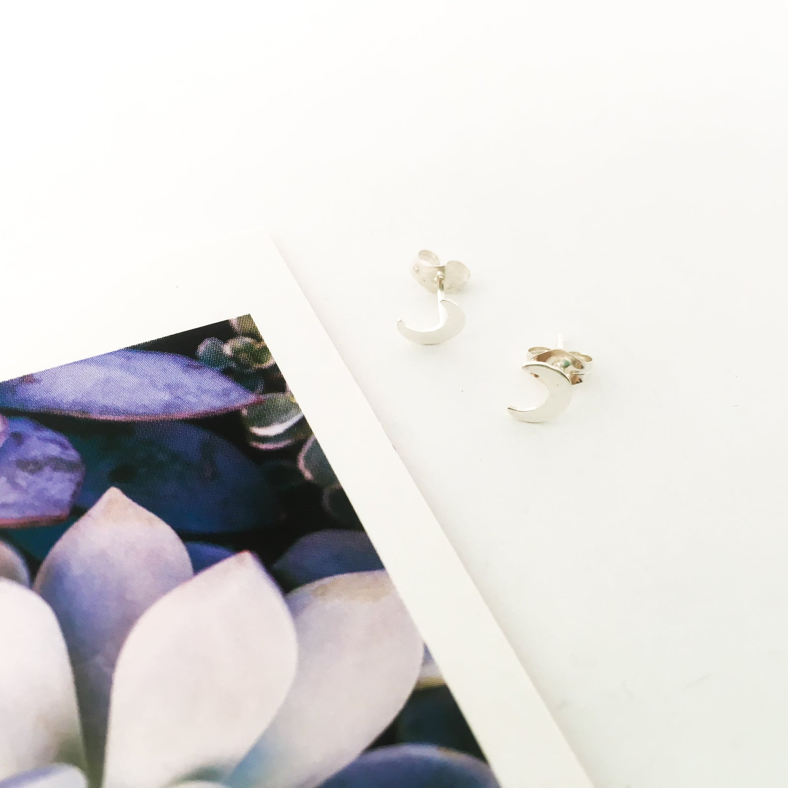 MOON STUD EARRINGS | STERLING SILVER