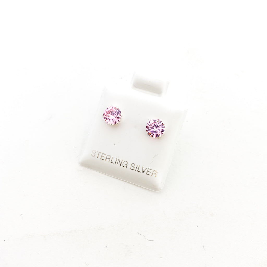 BIRTHSTONE STERLING SILVER CRYSTAL STUDS | OCTOBER PINK TOURMALINE | SIZE OPTIONS