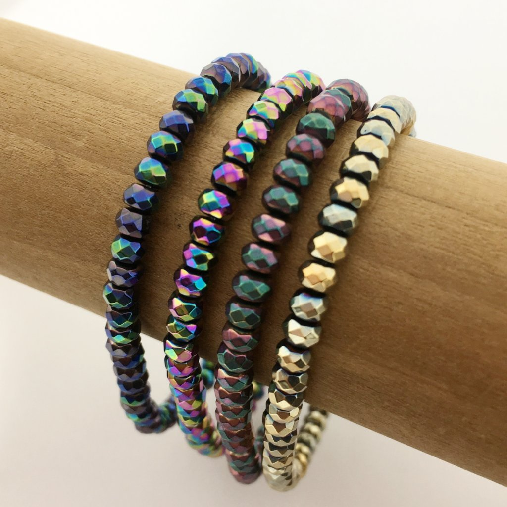 HEMATITE MULTI COLOR SPARKLERS | 4MM RONDELLE