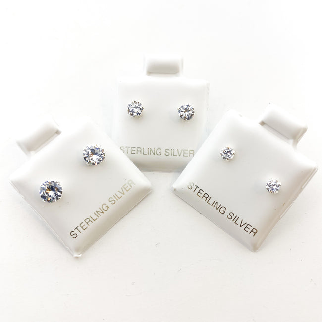 BIRTHSTONE STERLING SILVER CRYSTAL STUDS | APRIL DIAMOND | SIZE OPTIONS