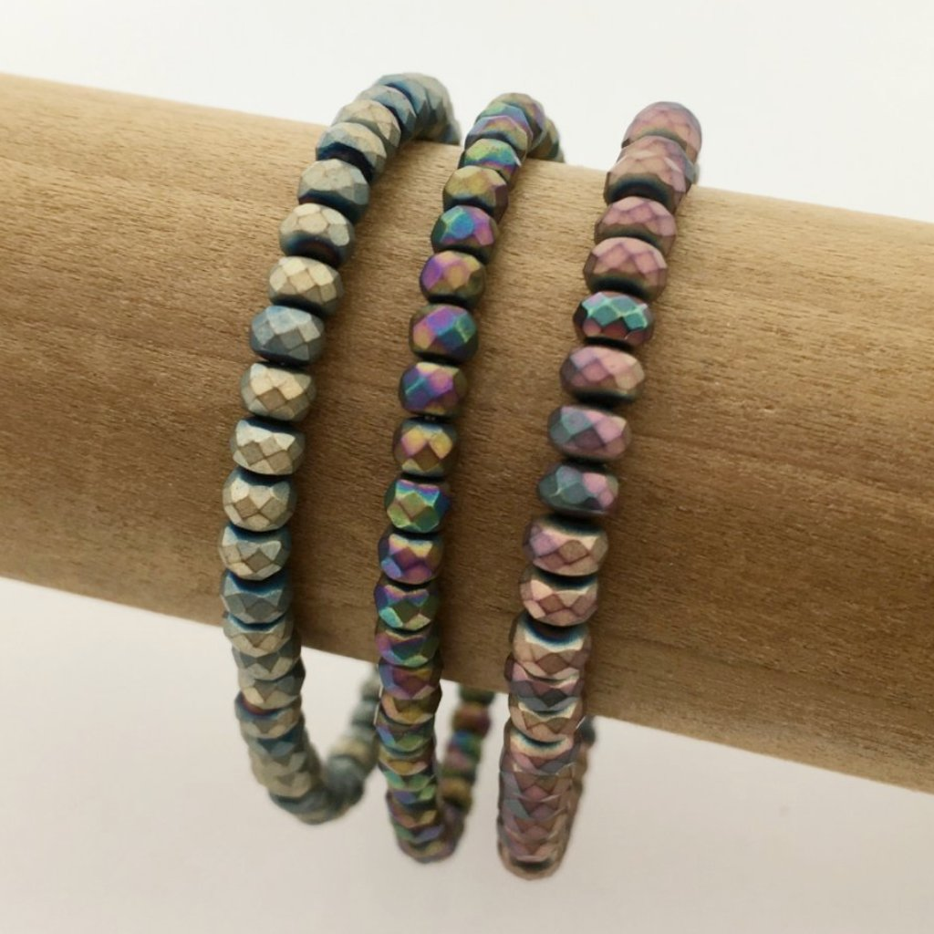 HEMATITE MATTE MULTI COLOR SPARKLERS | 4MM RONDELLE