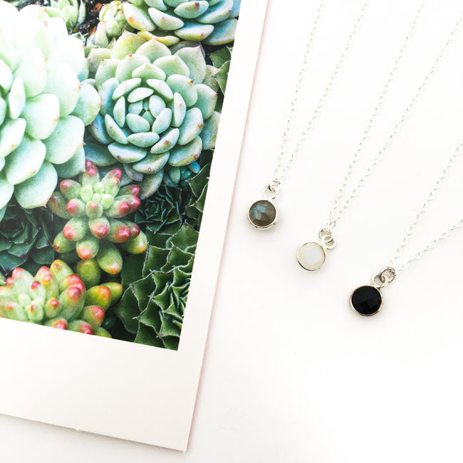 MINI FACETED STONE NECKLACES | STERLING SILVER | COLOR OPTIONS