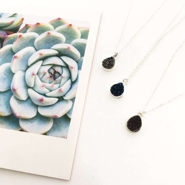DRUZY STONE DROP NECKLACES | STERLING SILVER | COLOR OPTIONS