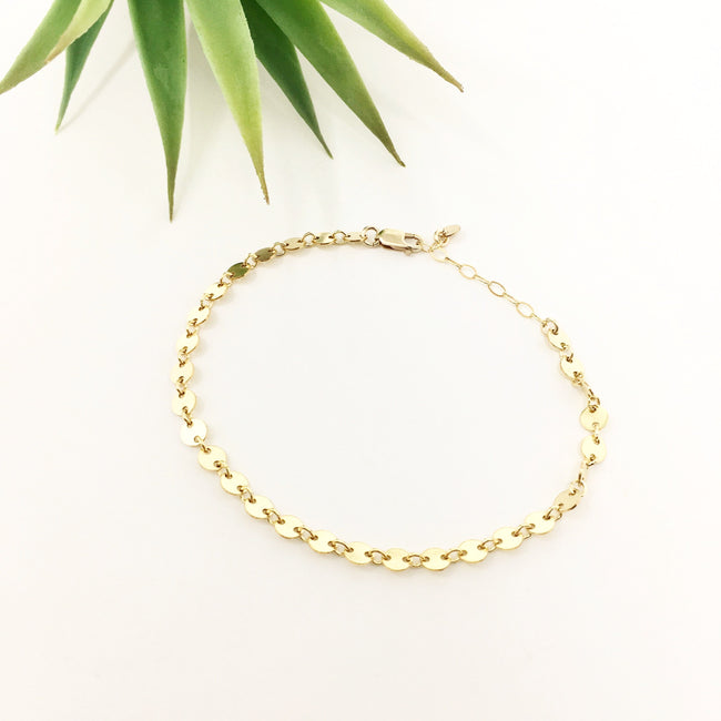 14K GOLD-FILLED DISK CHAIN BRACELET