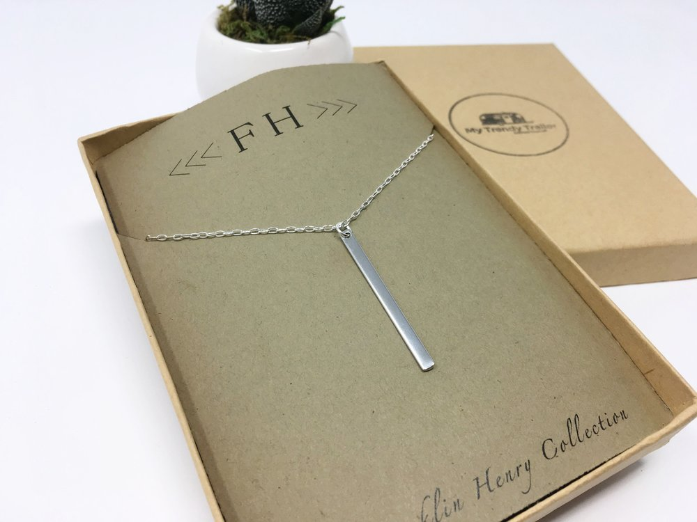 SILVER THIN LONG BAR NECKLACE