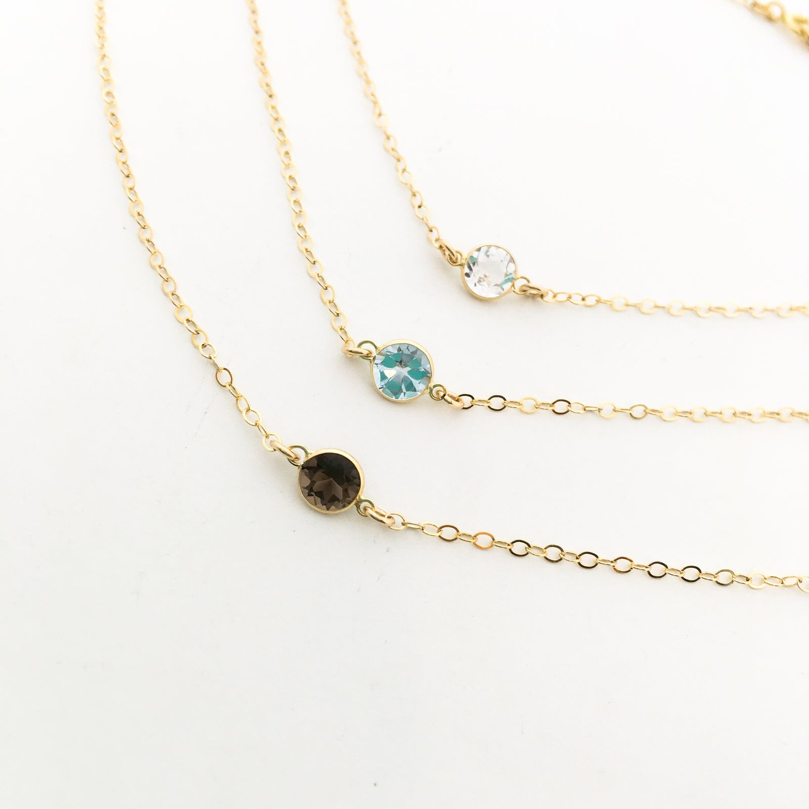 MINI TOPAZ STONE NECKLACES | COLOR OPTIONS | 14K GOLD-FILLED
