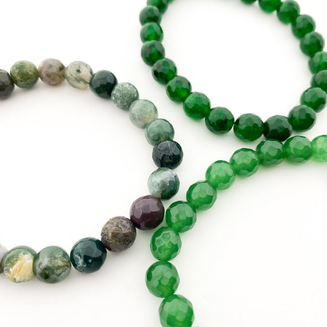 GREEN AGATE FACETED BRACELETS | 8MM | STYLE OPTIONS
