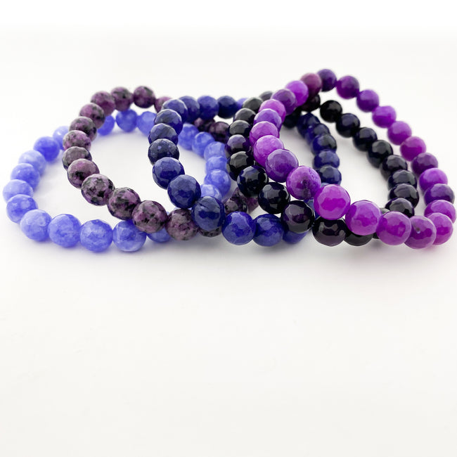 PURPLE AGATE FACETED BRACELETS | 8MM | STYLE OPTIONS