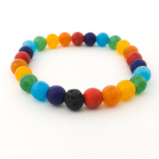 SINGLE LAVA STONE RAINBOW BEADED BRACELET | 8MM