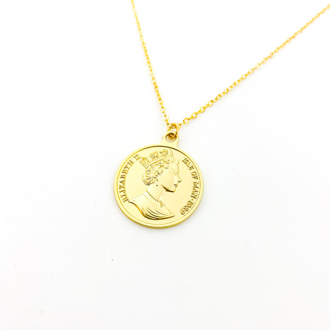 DOUBLE-SIDED ELIZABETH II COIN NECKLACES | GOLD | MATTE