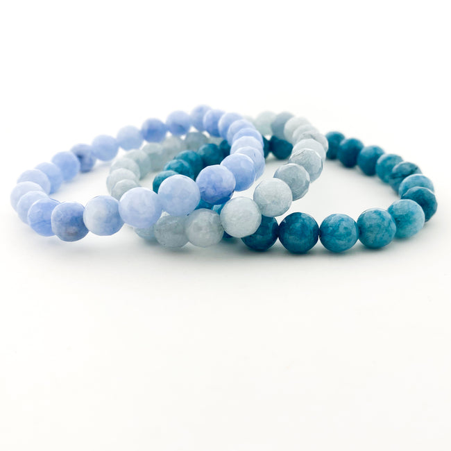 BLUE AGATE FACETED BRACELETS | 8MM | STYLE OPTIONS