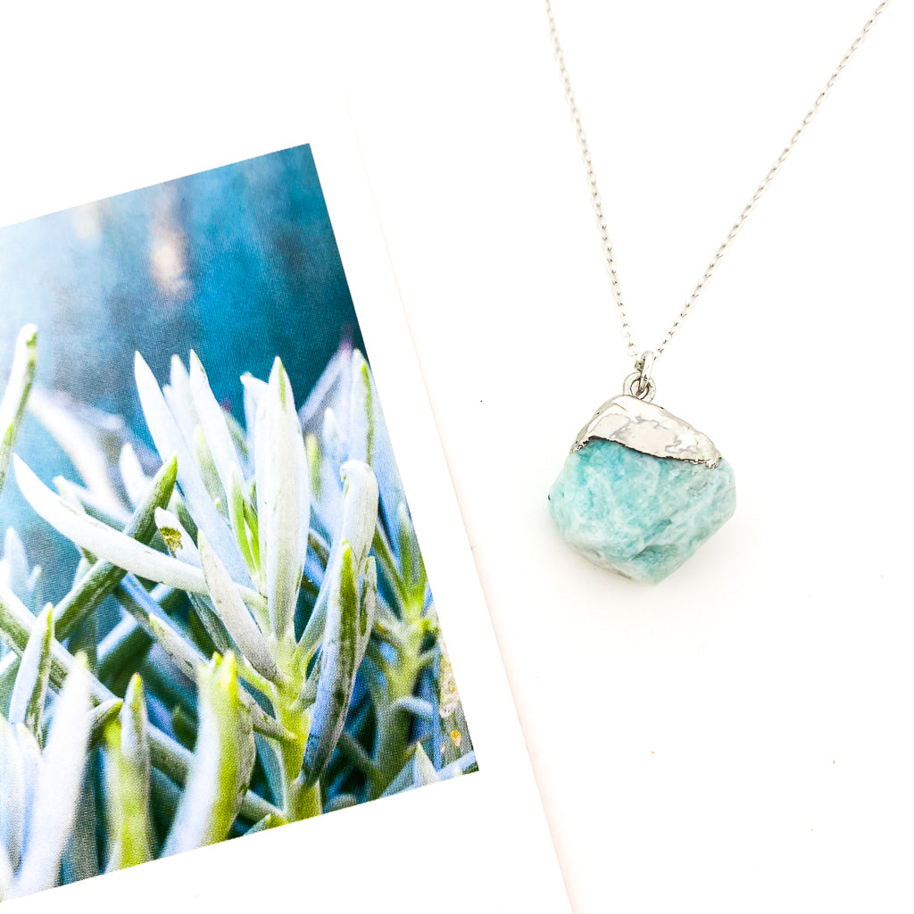 LARGE BLUE NUGGET NECKLACE | SILVER
