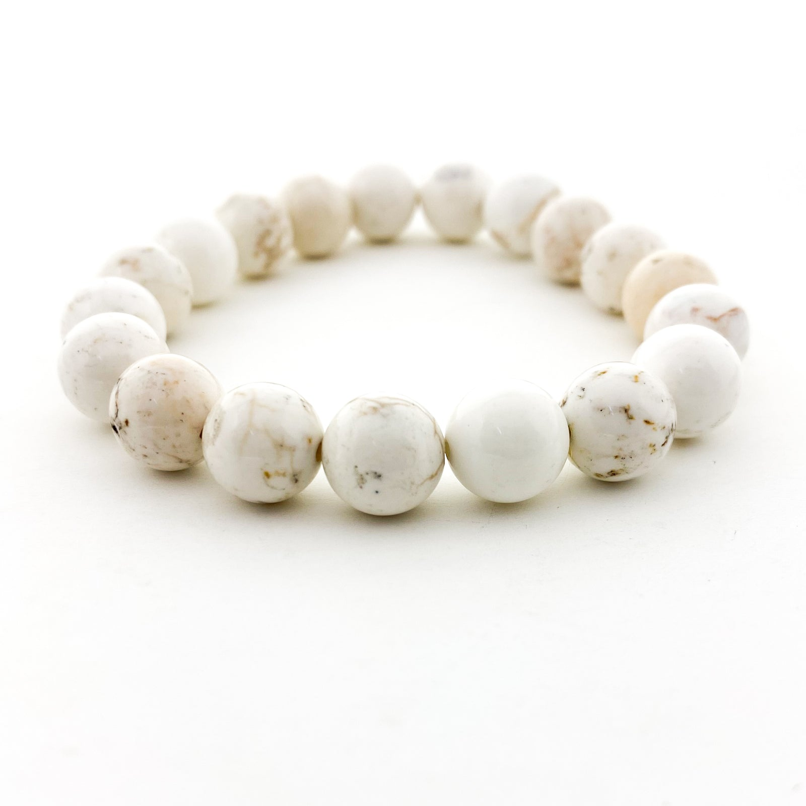 CREAM HOWLITE STONE BRACELETS | 10MM | STYLE OPTIONS