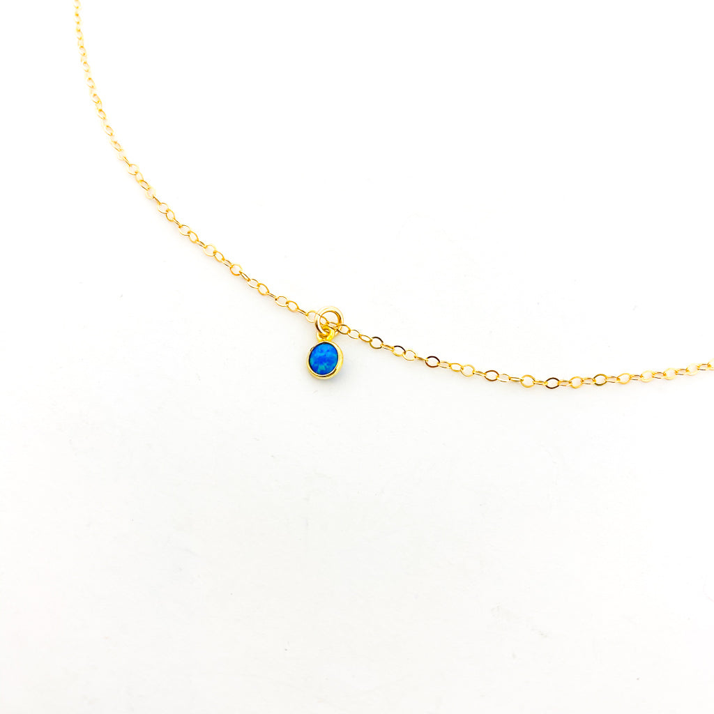 BLUE LAB OPAL NECKLACE | 14K GOLD-FILLED
