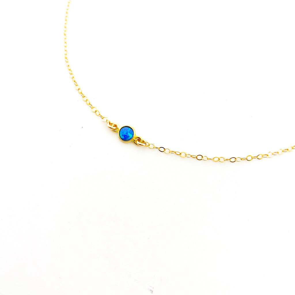 HELD BLUE LAB OPAL NECKLACE | 14K GOLD-FILLED