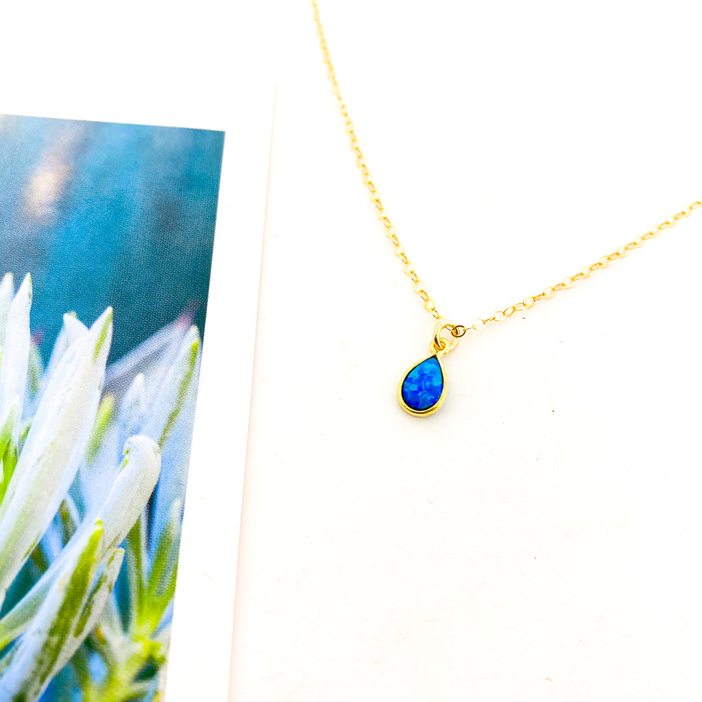 TEAR DROP LAB OPAL NECKLACE | 14K GOLD-FILLED | SIZE OPTIONS