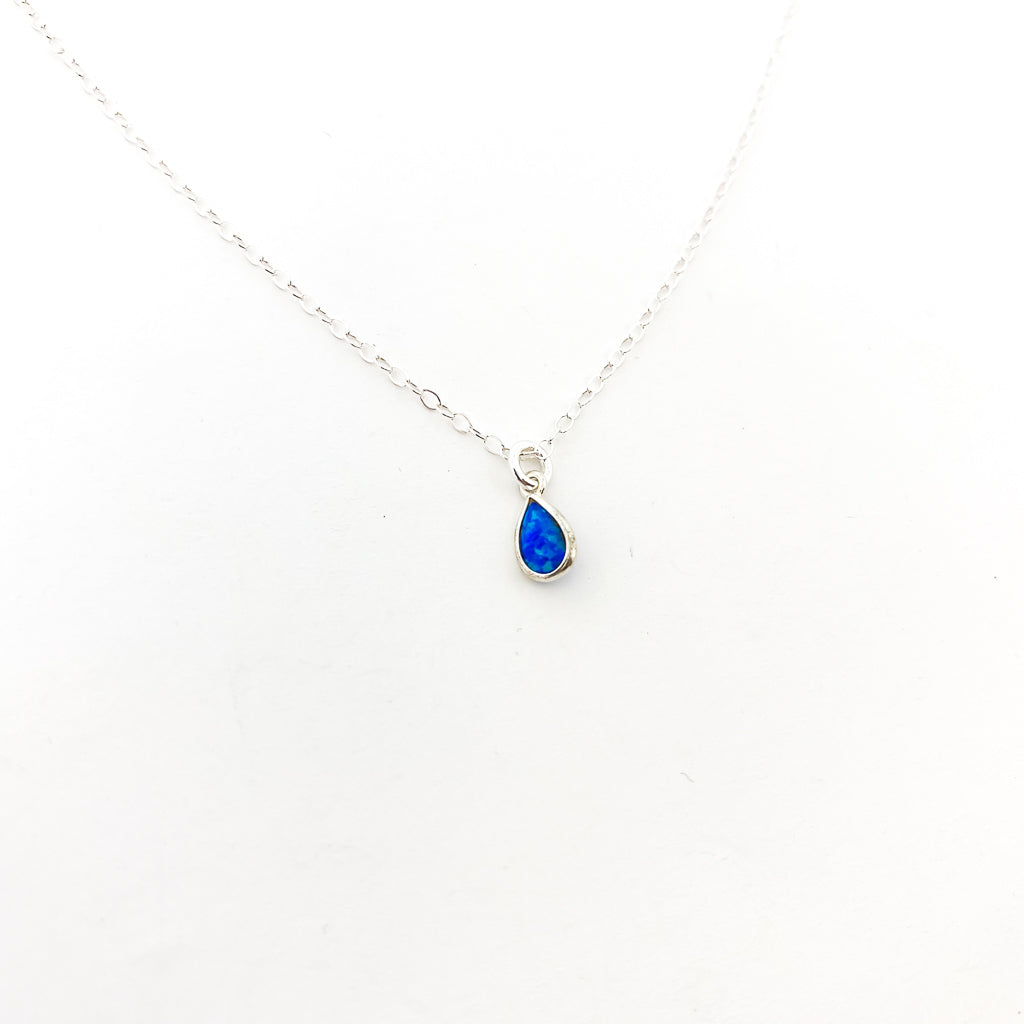 BLUE LAB OPAL TEAR DROP NECKLACE | STERLING SILVER | SIZE OPTIONS