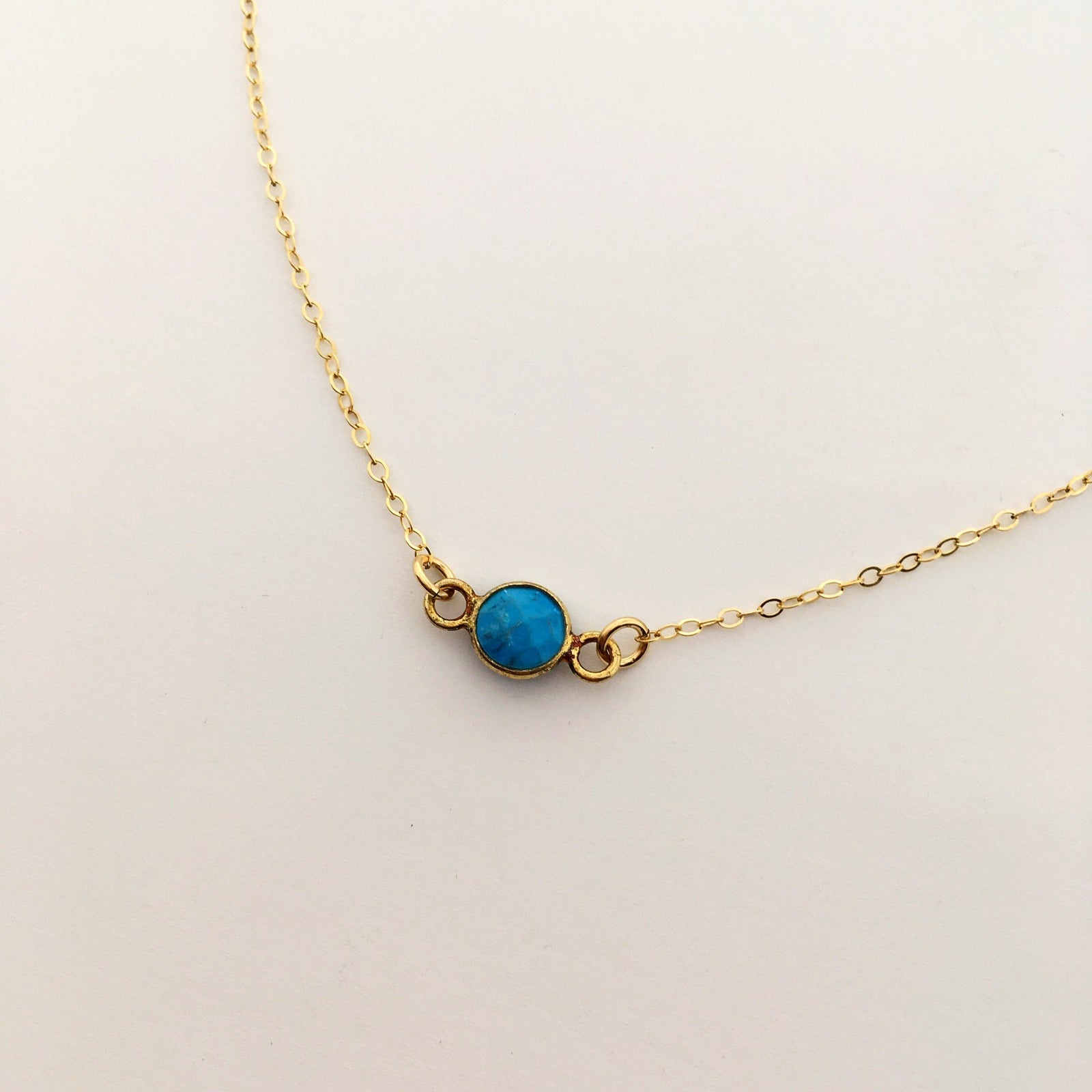 14K GOLD-FILLED TURQUOISE STONE NECKLACE