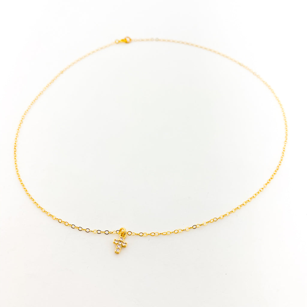 MINI RHINESTONE CROSS NECKLACE | 14K GOLD-FILLED