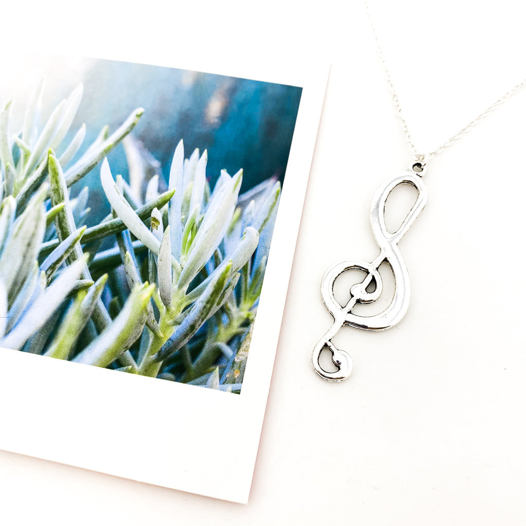 LARGE MUSIC NOTE NECKLACE | SILVER