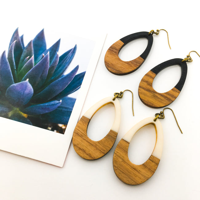 WOOD & RESIN DROP EARRINGS | STYLE OPTIONS