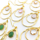 HANGING CRYSTAL DOUBLE DROP EARRINGS | GOLD | COLOR OPTIONS