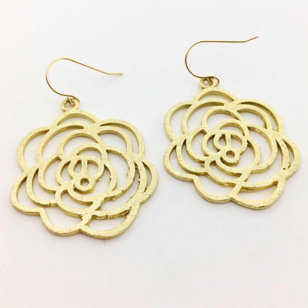 BRUSHED ROSE EARRINGS |14K GOLD-FILLED