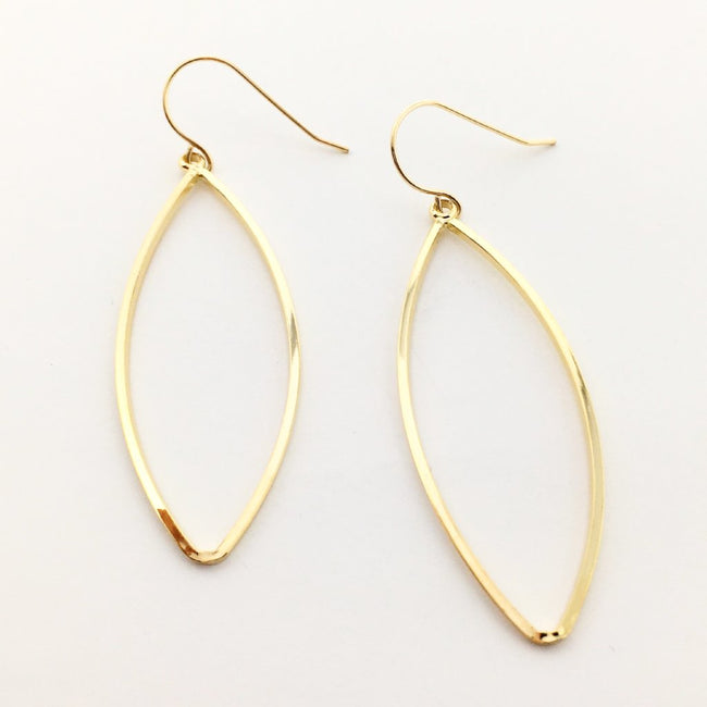 HALLOW MARQUISE EARRINGS | 18K GOLD PLATED