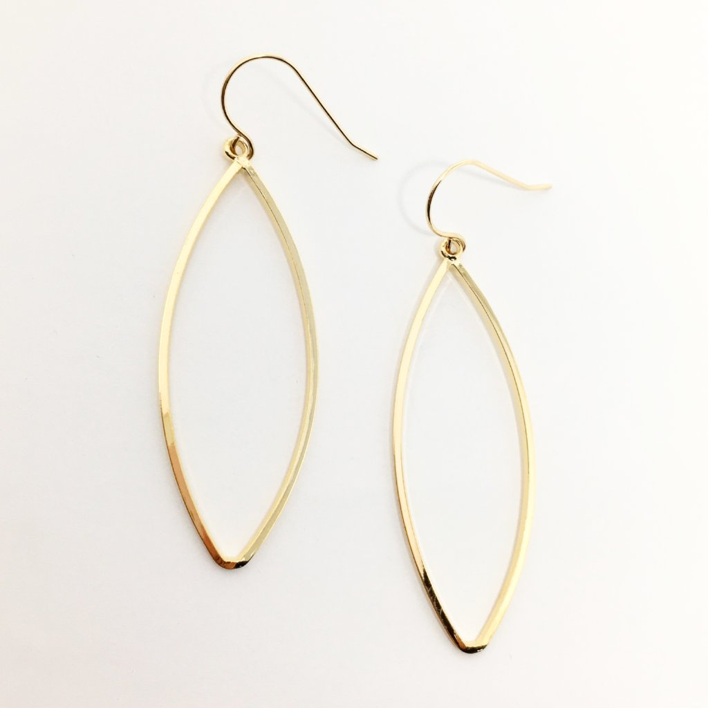 HOLLOW MARQUISE EARRINGS | 18K GOLD PLATED