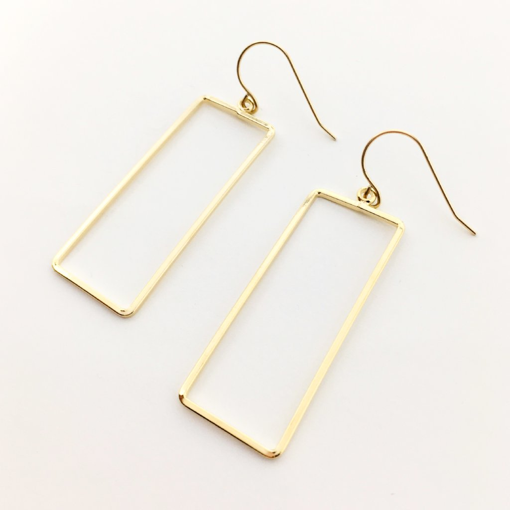 LARGE GOLDEN SQUARE EARRINGS