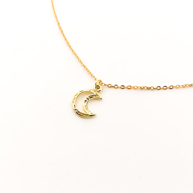 MINI TEXTURED MOON NECKLACES | GOLD