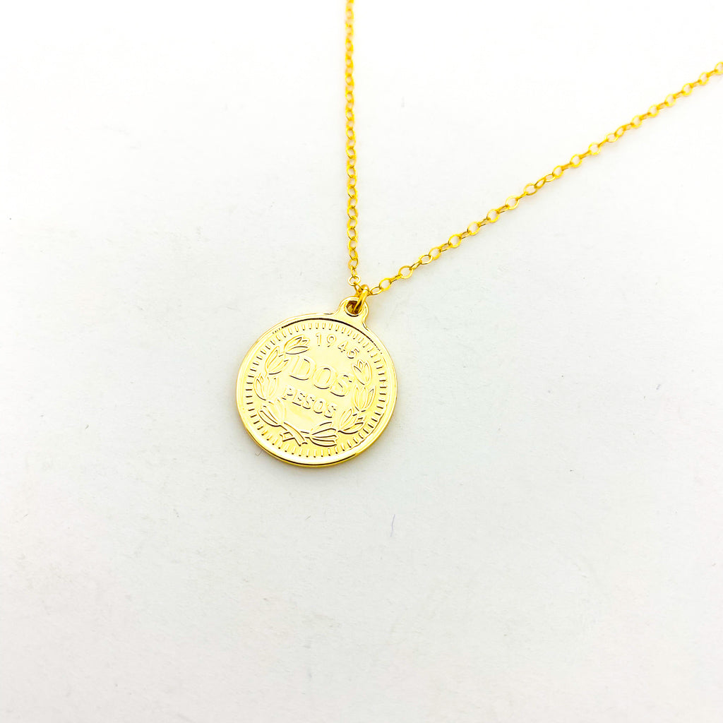 DOUBLE-SIDED ELIZABETH DOS PESOS COIN NECKLACES | 14K GOLD-FILLED