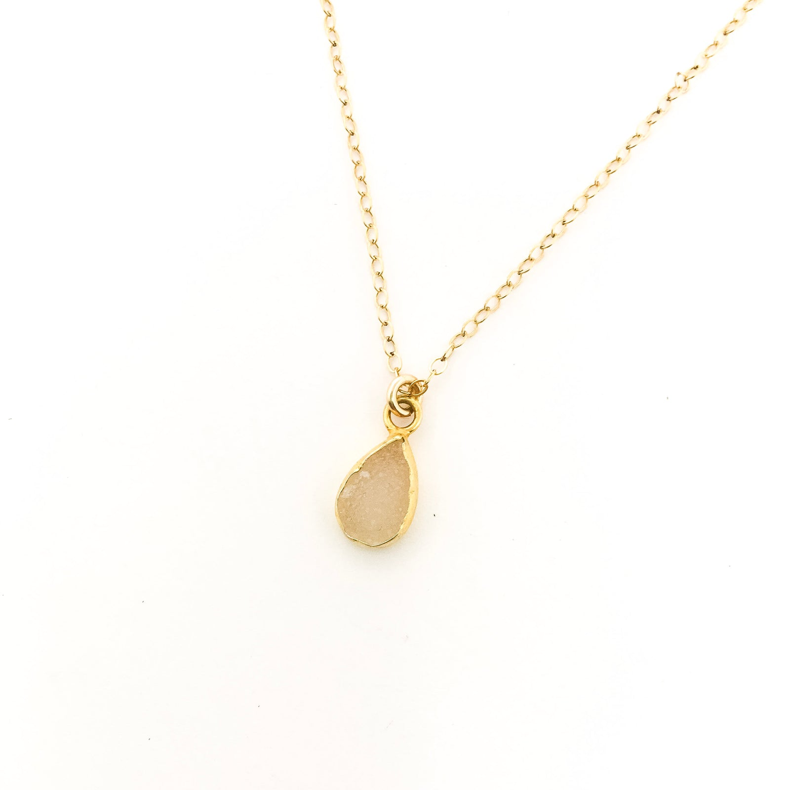 DOUBLE SIDED 14K GOLD-FILLED MINI DRUZY STONE NECKLACES | COLOR OPTIONS