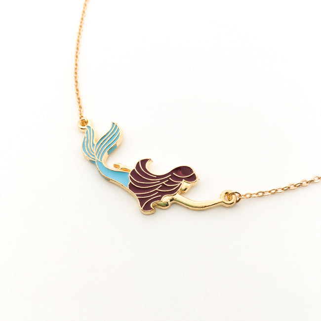 SWIMMING MERMAID NECKLACE | GOLD