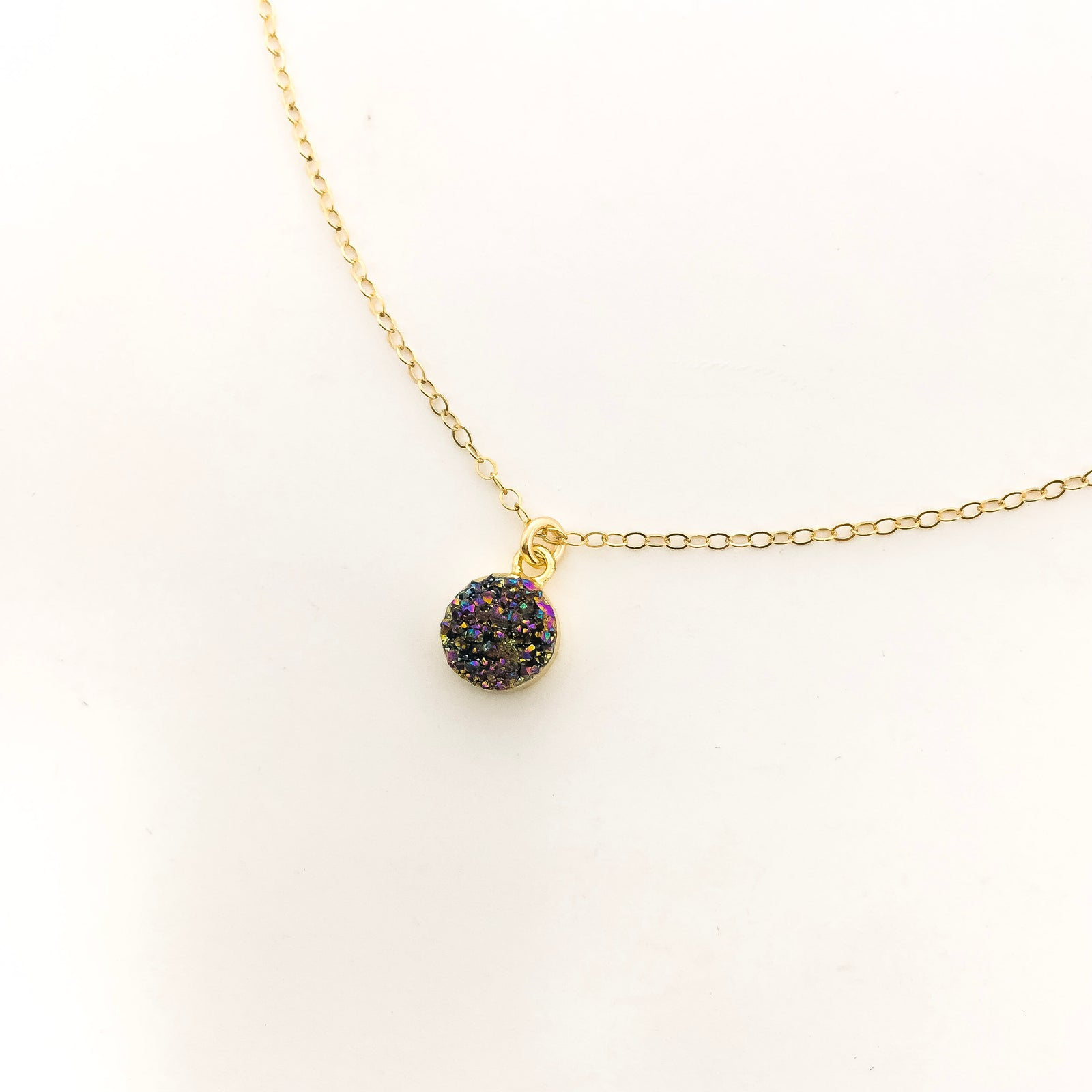 SPARKLE DRUZY STONE SPHERE 14K GOLD-FILLED NECKLACE