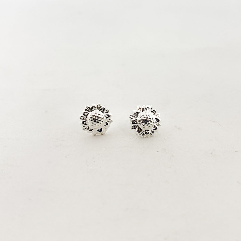 SUNFLOWER STUD EARRINGS | STERLING SILVER