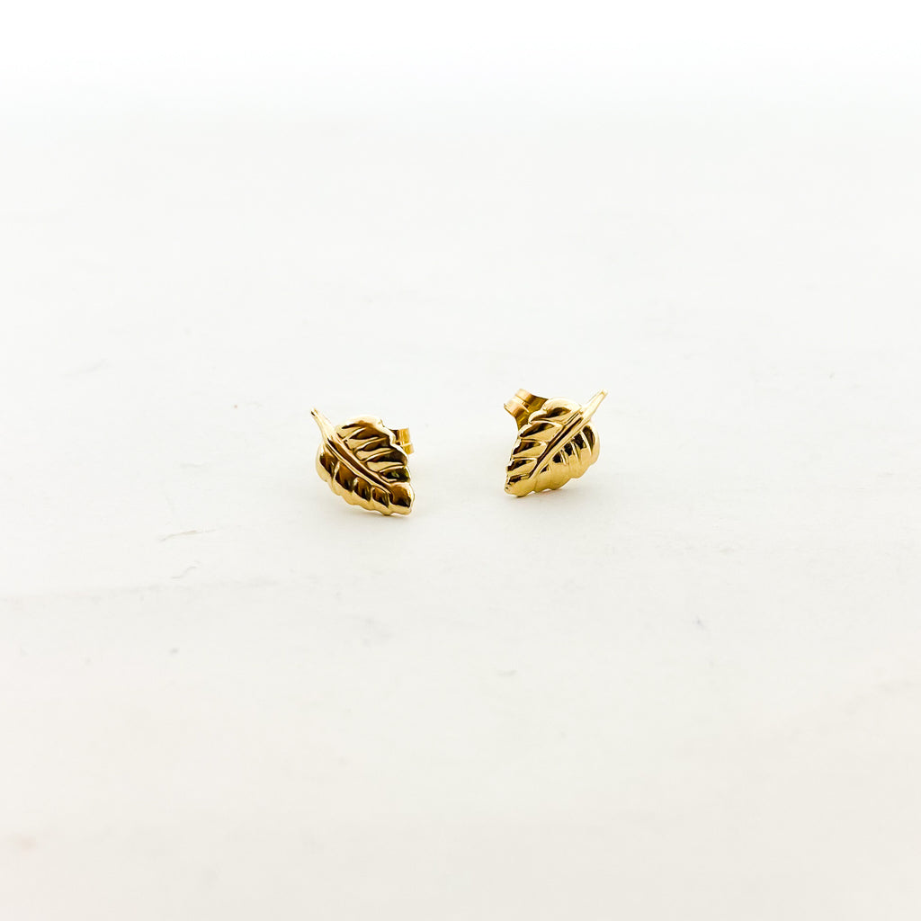 LITTLE LEAF STUD EARRINGS | 14K GOLD-FILLED