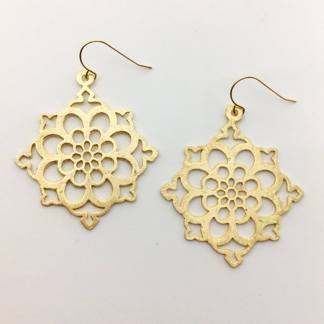 BRUSHED FLORAL EARRINGS | 14K GOLD-FILLED